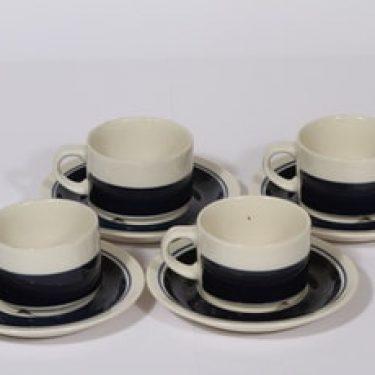 Arabia Kasino kahvikupit, sininen, 4 kpl, suunnittelija Göran Bäck, raitakoriste