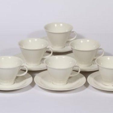 Arabia Harlekin kahvikupit, valkoinen, 6 kpl, suunnittelija Inkeri Leivo,