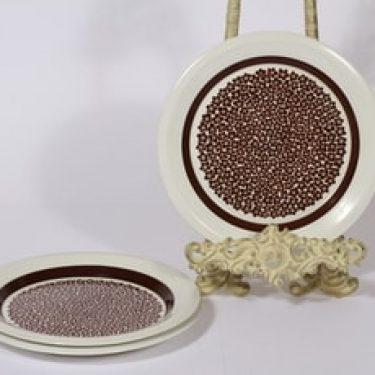Arabia Faenza lautaset, Ruskeakukka, 3 kpl, suunnittelija Inkeri Seppälä, Ruskeakukka, pieni, serikuva