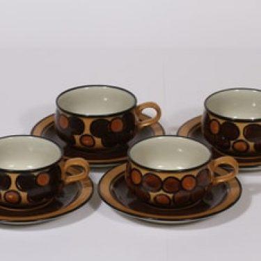Arabia Kalevala teekupit, käsinmaalattu, 4 kpl, suunnittelija Peter Winqvist, käsinmaalattu, signeerattu, retro