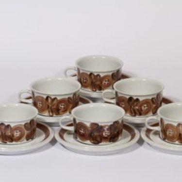 Arabia Rosmarin teekupit, käsinmaalattu, 6 kpl, suunnittelija Ulla Procope, käsinmaalattu, signeerattu
