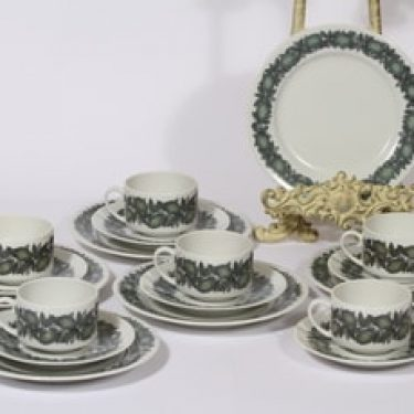 Arabia Citrus kahvikupit ja lautaset, vihreä, 6 kpl, suunnittelija Richard Lindh, serikuva