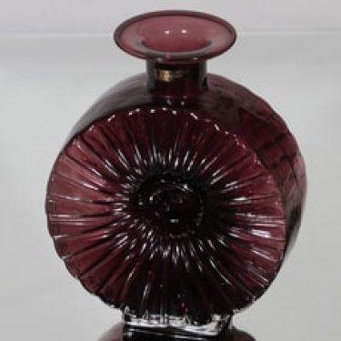 Riihimäen lasi Aurinkopullo koristepullo, lila/punaharmaa, suunnittelija Helena Tynell, koko ¾