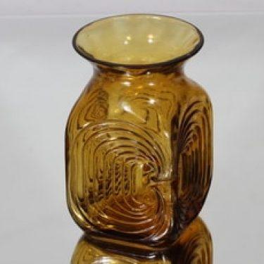 Riihimäen lasi Amuletti maljakko, amber, suunnittelija Tamara Aladin,