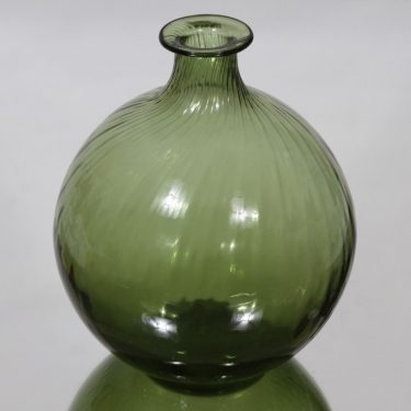 Riihimäen lasi Neptuna kukkapullo, vihreä, suunnittelija Nanny Still,