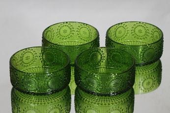 Riihimäen lasi Grapponia annoskulhot, vihreä, 4 kpl, suunnittelija Nanny Still,