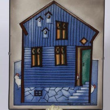 Arabia seinälaatta, Lintujen talo, suunnittelija Heljä Liukko-Sundström, Lintujen talo, serikuva, suuri, signeerattu