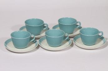 Arabia Maija kahvikupit, turkoosi, 5 kpl, suunnittelija Olga osol, puhallusväri