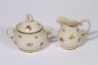 Arabia Rosita sokerikko ja kermakko, suunnittelija Svea Granlund, serikuva, kukka-aihe