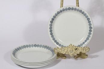 Arabia Linnea lautaset, pieni, 5 kpl, suunnittelija Raija Uosikkinen, pieni, serikuva, lehtiaihe