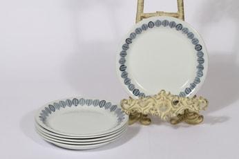 Arabia Linnea lautaset, pieni, 6 kpl, suunnittelija Raija Uosikkinen, pieni, serikuva, lehtiaihe