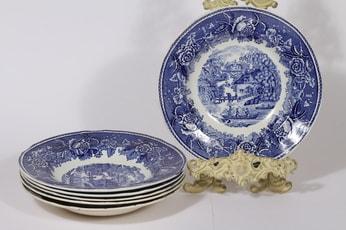 Arabia Maisema lautaset, syvä, 6 kpl, suunnittelija , syvä, kuparipainokoriste
