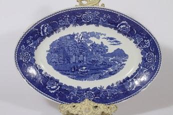 Arabia Maisema paistivati, sininen, suunnittelija , kuparipainokoriste, suuri, soikea
