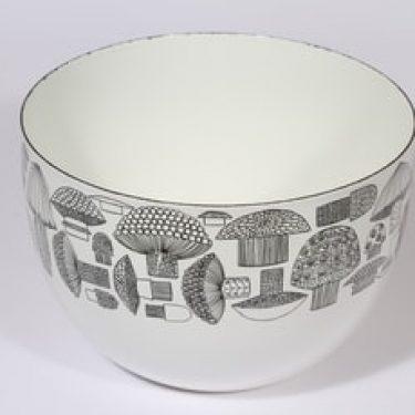 Finel Tatti kulho, valkoinen|musta, suunnittelija Esteri Tomula, serikuva, sieniaihe