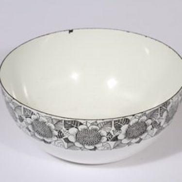 Finel Kukka kulho, valkoinen|musta, suunnittelija Esteri Tomula, serikuva, kukka-aihe