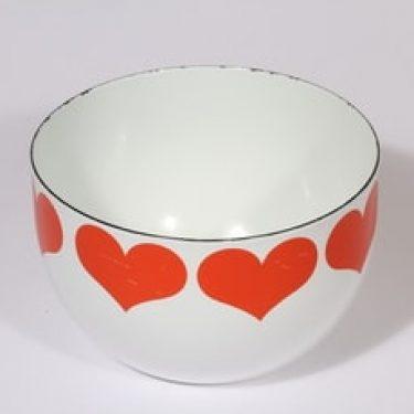 Finel Sydän kulho, valkoinen|punainen, suunnittelija Kaj Franck, pieni, serikuva, sydänaihe
