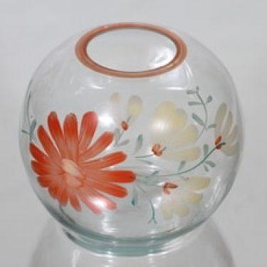 Kauklahden lasi maljakko, suunnittelija , pyöreä, käsinmaalattu, kukka-aihe