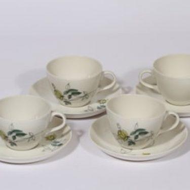 Arabia Julia kahvikupit, 4 kpl, suunnittelija Hilkka-Liisa Ahola, käsinmaalattu, kukka-aihe
