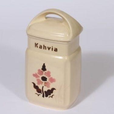 Arabia kukkakuvio kahvipurkki, suunnittelija , puhalluskoriste, kukka-aihe