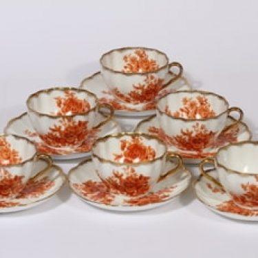 Arabia kukkakuvio kahvikupit, oranssi, 6 kpl, suunnittelija , siirtokuva, kultafondi