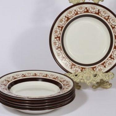 Arabia Katrilli lautaset, syvä, 6 kpl, suunnittelija Esteri Tomula, syvä, serikuva