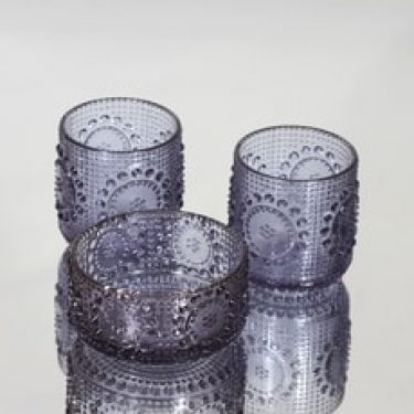 Riihimäen lasi Grapponia annoskulho ja lasit, neodymi, 2 kpl, suunnittelija Nanny Still,