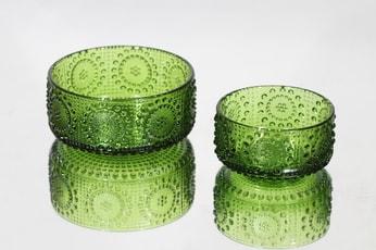 Riihimäen lasi Grapponia annoskulhot, eri kokoja, 2 kpl, suunnittelija Nanny Still, eri kokoja