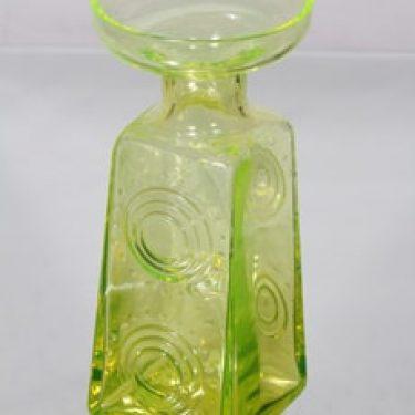 Riihimäen lasi Auringonkukka maljakko, keltainen, suunnittelija Tamara Aladin, suuri, signeerattu