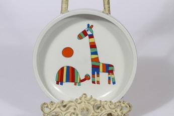 Arabia Kirahvi lasten lautanen, matala, suunnittelija Laila Hakala, matala, serikuva, eläinaihe, retro