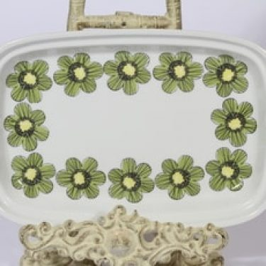 Arabia Primavera vati, lakka, suunnittelija Esteri Tomula, lakka, serikuva, kukka-aihe, retro