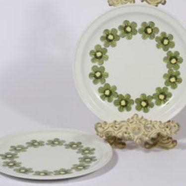 Arabia Primavera lautaset, matala, 2 kpl, suunnittelija Esteri Tomula, matala, serikuva, kukka-aihe, retro