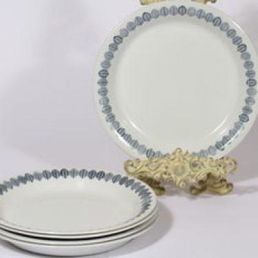 Arabia Linnea lautaset, matala, 5 kpl, suunnittelija Raija Uosikkinen, matala, serikuva, lehtiaihe, retro