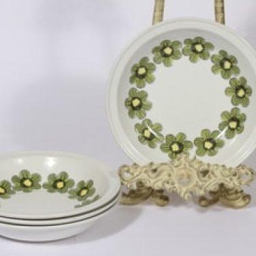 Arabia Primavera lautaset, syvä, 4 kpl, suunnittelija Esteri Tomula, syvä, serikuva, kukka-aihe, retro
