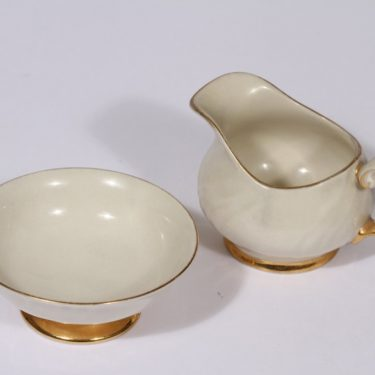 Arabia Kultakoriste kermakko ja sokerikko, suunnittelija Olga Osol, pieni, kullattu