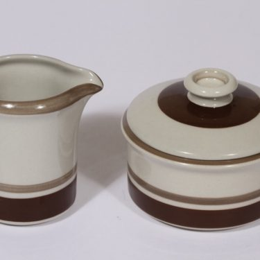 Arabia Pirtti sugar bowl and creamer, brown, Raija Uosikkinen
