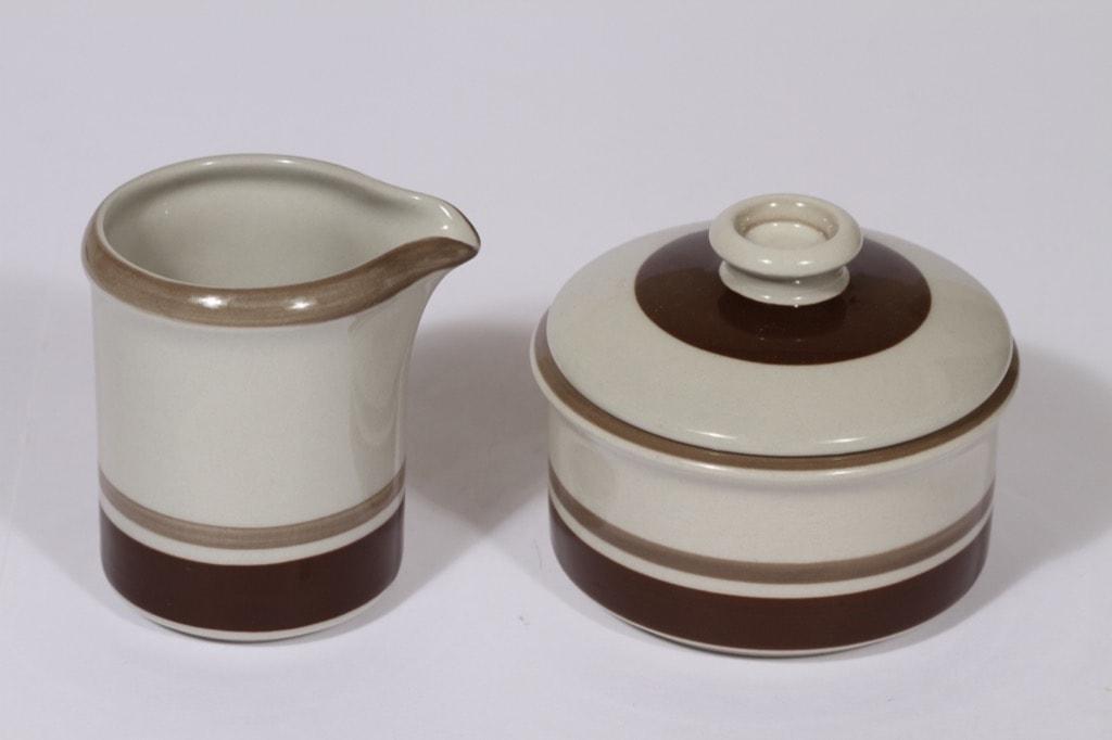 Arabia Pirtti sugar bowl and creamer, brown, Raija Uosikkinen