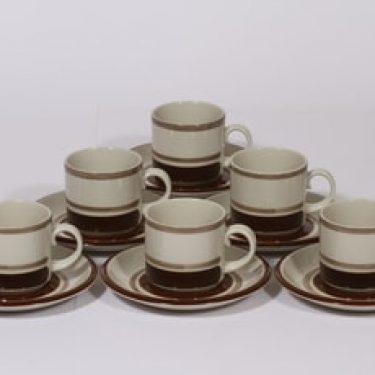 Arabia Pirtti kahvikupit, ruskea, 6 kpl, suunnittelija Raija Uosikkinen, raitakoriste