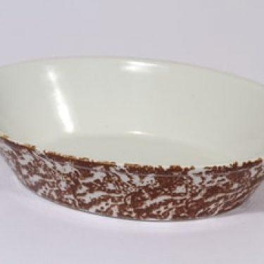 Arabia KE-A uunivuoka, ruskea|valkoinen, suunnittelija , sienitetty