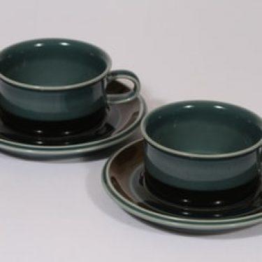 Arabia Meri teekupit, 2 kpl, suunnittelija Ulla Procope, raitakoriste