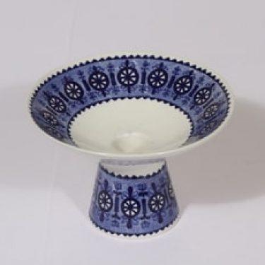 Arabia Antica kynttilänjalka, sininen, suunnittelija Raija Uosikkinen, kuparipainokoriste