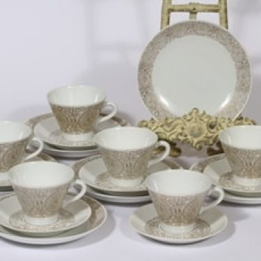 Arabia Filigran kahvikupit ja lautaset, kulta, 6 kpl, suunnittelija Raija Uosikkinen, serikuva