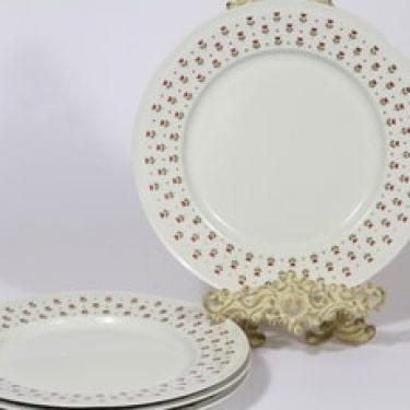 Arabia Miniflora lautaset, matala, 4 kpl, suunnittelija Esteri Tomula, matala, serikuva, kukka-aihe