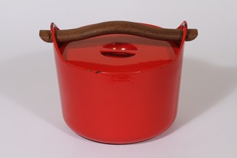 Rosenlew Sarpaneva-pata pata, punainen, suunnittelija Timo Sarpaneva, massiivinen, puukahva
