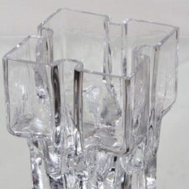 Riihimäen lasi Paalutalo taidelasi, signeerattu, suunnittelija Helena Tynell, signeerattu, suuri, massiivinen, kirkas