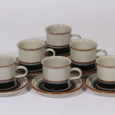 Arabia Taika kahvikupit, 6 kpl, suunnittelija Inkeri Seppälä, raitakoriste