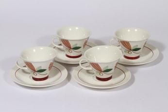 Arabia Harlekin Carneval kahvikupit, 4 kpl, suunnittelija Inkeri Leivo, serikuva