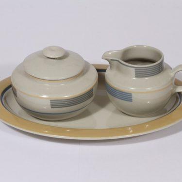 Arabia Kombi sugar bowl, creamer and plate, Kati Tuominen-Niittylä