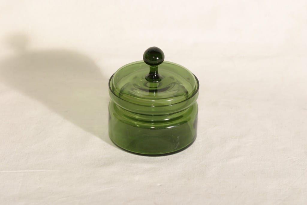 Kumela 450-II=2700 lasipurkki, vihreä, suunnittelija Sirkku Kumela-Lehtonen,