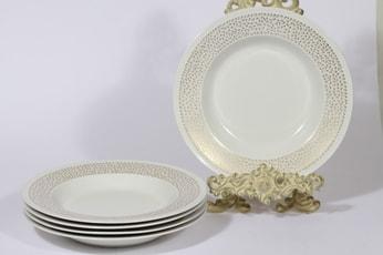 Arabia Kimmel lautaset, syvä, 5 kpl, suunnittelija Esteri Tomula, syvä, serikuva, syvä