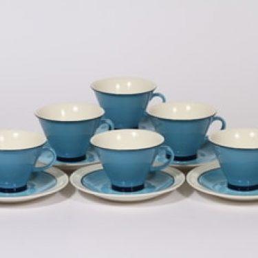 Arabia Harlekin Turkos kahvikupit, turkoosi, 6 kpl, suunnittelija Inkeri Leivo,